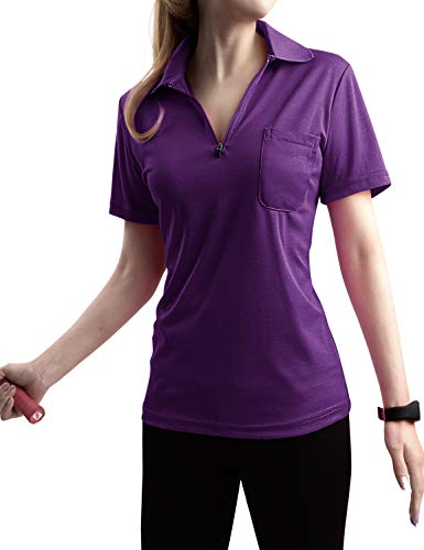 TWINTH Women Active Short Sleeve Zipup Basic Polo T- Shirt Purple XL Design Womens Fitted T-shirt