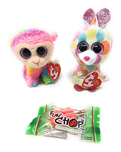 - TY Basket Beanies, Bloomy The Bunny and Daffodil The Lamb, Happy Spring Bundle of 2 Plus a Fun Chop Chopstick Holder