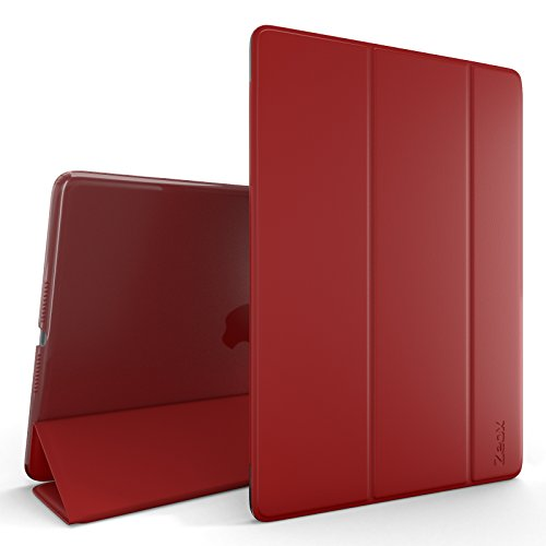 Zeox iPad Air 2 Case (2014 release) - Slim Ultra Lightweight Stand Smart Protective Cover with Transparent Anti Fingerprint Back Protector & Auto Sleep / Wake Feature for Apple iPad Air 2 - Red by ZEOX (Image #1)