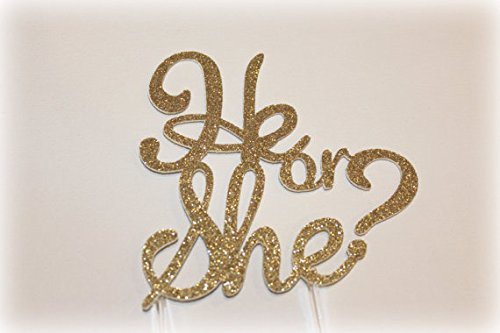 Handmade Gender Reveal Cake Topper Decoration – He or She – Made in USA with Double Sided Gold Glitter Stock