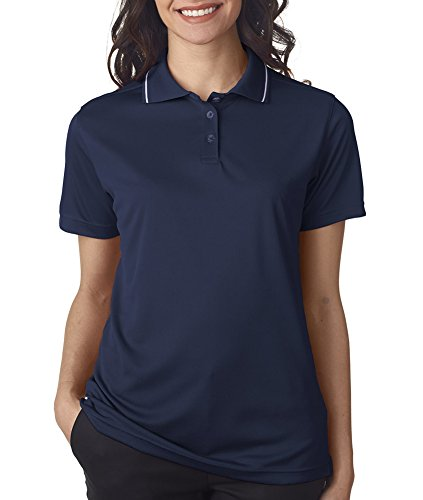 Ultraclub Ladies Polo with Tipped Collar 8394L -Navy/ White -