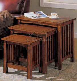 Amazon Com 3 Mission Style Nesting Table Set In Antique