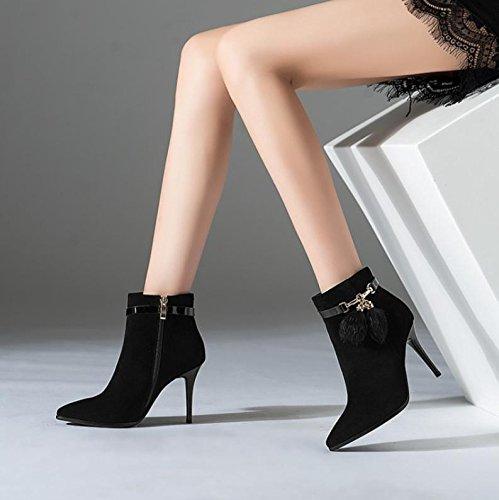 NVXUEZIX Damenschuhe Suede Winter Herbst Stiefel Stiefel Stiefeletten Stiletto Heel Spitz Toe Stiefelies Stiefeletten Stiefel Metallkette, 38 b89f7a