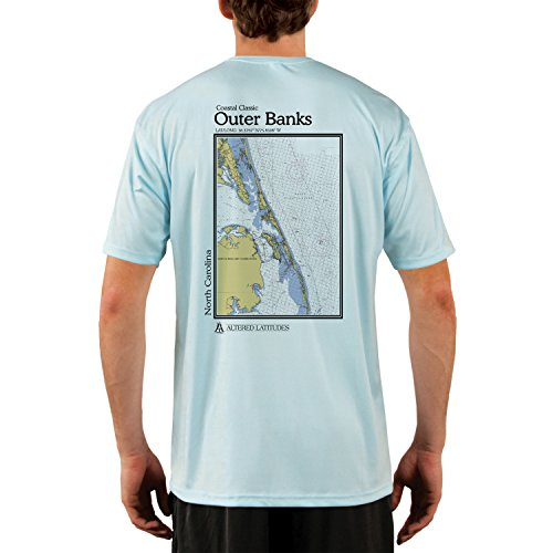 Altered Latitudes Coastal Classics Outer Banks Chart Mens Upf 50  Short Sleeve T Shirt Large Arctic Blue
