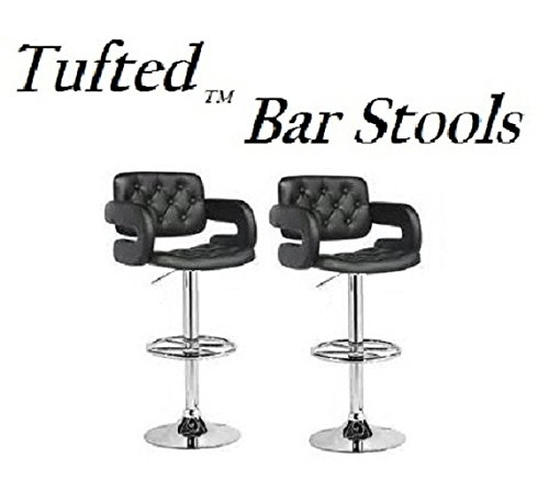 South Mission Tufted Adjustable Swivel Bar Stool with Armrests, Black Leatherette, Set of 2