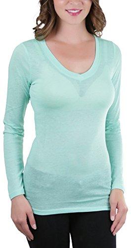 ToBeInStyle Women's Basic L.S. V-Neck Melange Tee - Soft Sage - Large