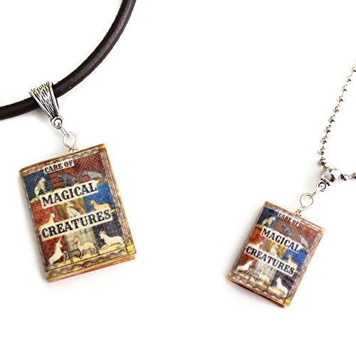 [CARE OF MAGICAL CREATURES Clay Mini Book Pendant Necklace Unisex from The School Of Magic & Wizardry Collection by Book] (Last Minute Costume Ideas College)