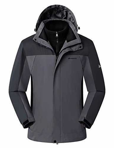 MOUNTEC 3in1 Men's Waterproof Outdoor Jacket with Removable Quilted Softshell Jacket Lining