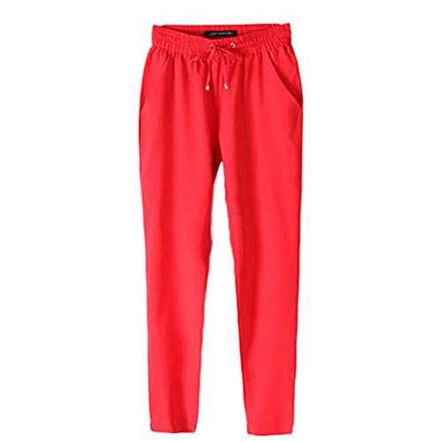 Gemini _ Mall? da donna con elastico in vita pantaloni da donna pantaloni su tutta la lunghezza Red
