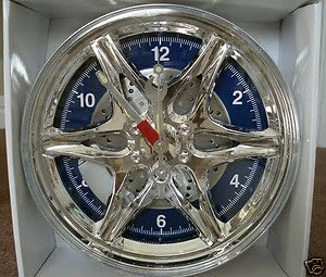 CHROME SPORTS WHEEL DECORATIVE WALL CLOCK,SPOKES,CALIPER,ROTOR,TOOL SHAPED HANDS