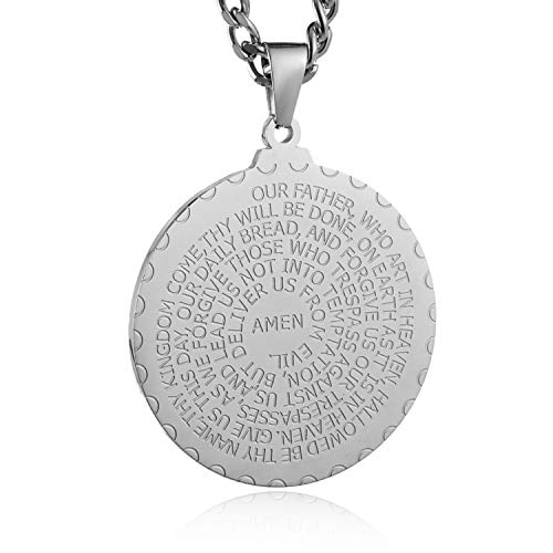 HZMAN Bible Verse Prayer Necklace with Free Chain Christian Jewelry Stainless Steel Round Medal Pendant (Silver)