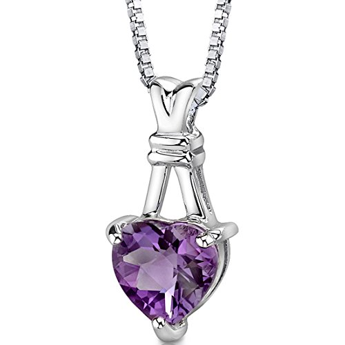 Amethyst Heart Pendant Necklace Sterling Silver Rhodium Nickel Finish 2.25 Carats