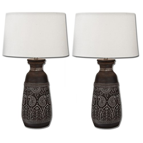 Urban Designs Artisan Hand-Crafted Unglazed Ceramic Table Lamps (Set of 2)