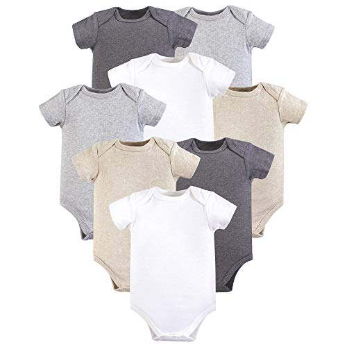 Hudson Baby Unisex Baby Cotton Bodysuits, Heather Gray 8 Pack, 0-3 Months (3M)