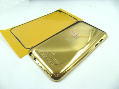 - 32gb Gold Golden Color Metal Back Rear Housing Case Cover Shell Backplate Rubber Plastic Frame Bracket Bezel Double-side Adhesive Glue for Ipod Touch 4th Gen