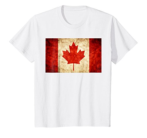 Trendy Youth T-shirts (Kids Unique Trendy & Vintage Canada Flag T-Shirt & Gift G999944 12 White)