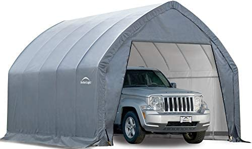 ShelterLogic 11 x 20 x 9 6 Garage-in-a-Box All Season Steel Metal Peak Style Roof Portable Outdoor Garage for Crossover Small Trucks and Large Sedans, Grey