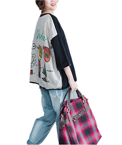 Silk Cotton Crewneck T-shirt (Yesno QN6 Women Tee T-Shirts Tops 100% Cotton Casual Loose Fit Big Pocket Crew Neck)