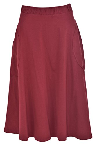 Cotton Midi Skirt With Pockets For Women (Small, Wine) (Cotton Unlined Skirt)