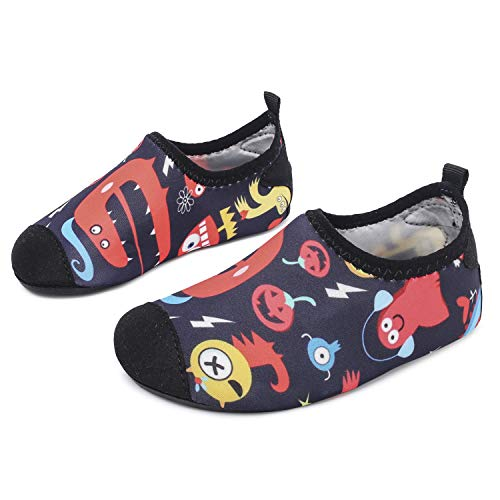 L-RUN Kids Water Shoes Boys Girls Lightweight Swim Shoes Anti-Skid Halloween 3-4=EU18-19 -