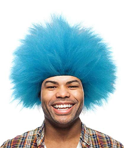 Halloween Party Online Blue Fuzzy Funny Costume Wig for Kids -