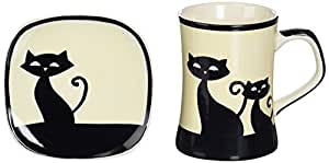 Amazon.com | Hues & Brews 8 Piece Cattitude Mugs & Coasters Set