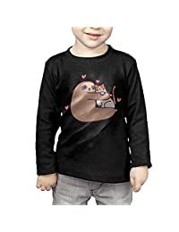 Sloth Loves Cat Childrens Long Sleeve T-Shirt Cotton Tshirt Tee