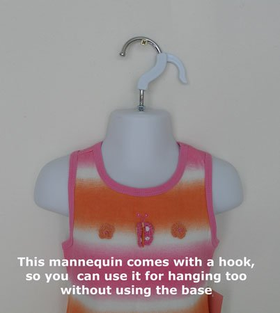 Easy to Assemble and Store with Metal Stand for Counter or Hanging by EZ-Mannequins for Craft Shows Photos or Display for 18mo-4T Sizes Toddler Mannequin Torso Dress Form Hollow Back Body Child