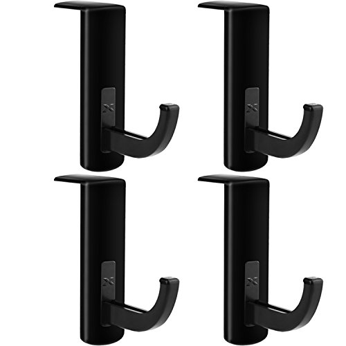 Mudder 4 Pack Headphone Headset Hanger Monitor Stand Holder Headset Stick-on Hook, Black
