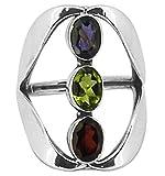 M/s Gajraj Garnet, US-Amethyst and Iolite Triple Stone Sterling Silver Ring, US-12