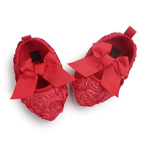 Jamicy® Mode Baby Mädchen Bowknot weiche Sohle Prinzessin Wohnungen SCrib Schuh Rot