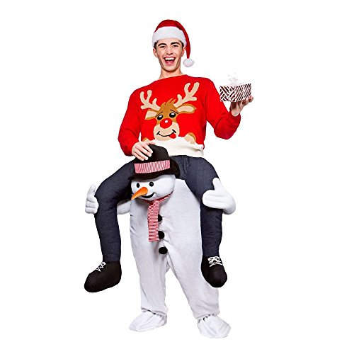 Piggyback Costume Christmas (Snowman Ride on Piggyback Costumes Party Christmas Adult One Size fits most)