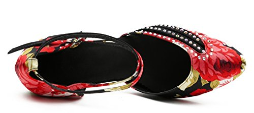 Ballroom Pumps Latin Satin Heel 7cm TDA Stylish Shoes Strap Cross Tango Salsa Womens Black Toe Floral Round Dance wxpvA6