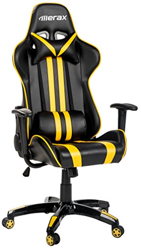 Merax Racing Gaming Chair Executive Swivel Leather Computer Office Chair, Black and Yellow