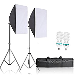 "Selens 1200W Professional Photography Lighting Kit with 20""x28"" Softbox, E27 Socket Light Bulbs, stands, Carrying Bag for Photo Studio Portraits,Product Photography and Video Shooting"