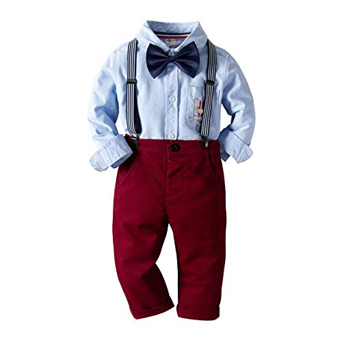 Baby Boys Fashion Gentleman Pants Clothing Set Long Sleeves Shirt+Suspender Colorful Pants+Bow Tie Toddler 4Pcs Set (Navy Blue, 3-4T/100)]()