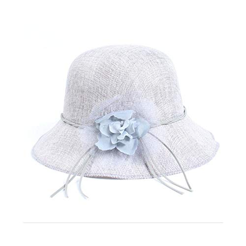 Sun Hat Summer Floral Wide Brim Caps Beach Travel Foldable Solid Hats Uv Protection Caps,Grey