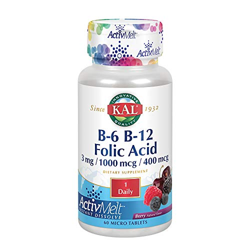 KAL B-6, B-12, and Folic Acid ActivMelt | Healthy Heart & Energy Support | Natural Berry Flavor | Superior Vitamin B Complex | 60 Micro Tablets