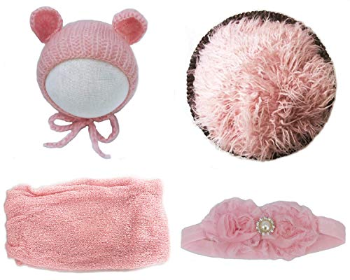 Jay-EE Newborn 4 Pcs Photography Props Set Baby Photo Prop Long Ripple Stretch Wrap, Headband, Ears Hat and Faux Fur Backdrop Blanket (Pink)