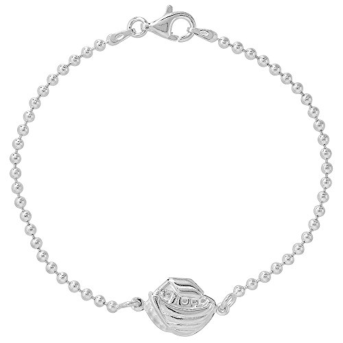 (Sterling Silver Noahs Ark Bracelet for Women & Girls 7.5 inch long)