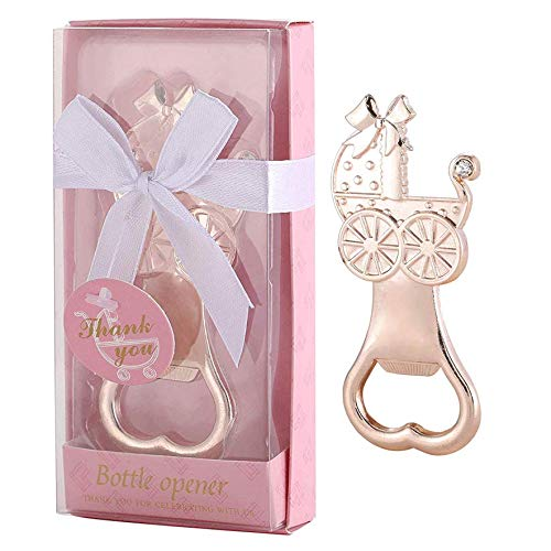 15 pcs Bottle Opener Baby Shower Favors Baby Carrige Shaped Party Souvenirs for Guests Cute Party Supplies Decoration Gift for Girl Birthday with Individual Gift Box (Baby Carriage Pink, 15)