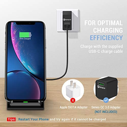 Seneo [2 Pack] 7.5W Qi Fast iPhone Wireless Charger for iPhone SE2/11/11 Pro Max/XR/XS/X/8/8P, 10W Wireless Charging for Samsung Galaxy Note10/10+/9/8, S10/S9/S8,15W for LG V40/Galaxy S20(No Adapter)