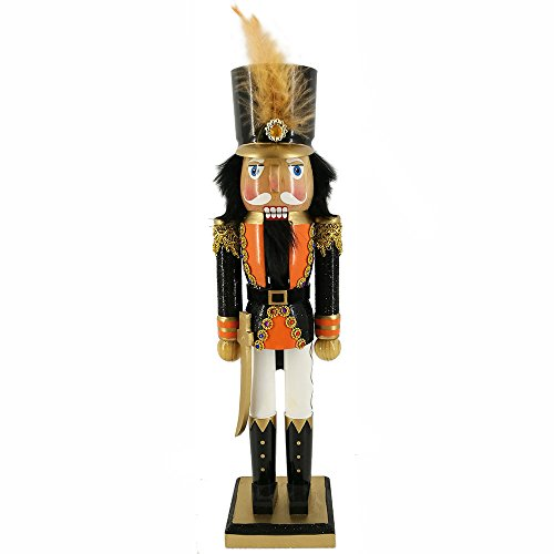 Christmas Holiday Wooden Nutcracker Figure with Traditional Orange and Black Uniform Jacket, Black Boots, and Feather in Tall Black Hat with Metallic Gold Accents & Rhinestone Sparkle Details Large, 1 -