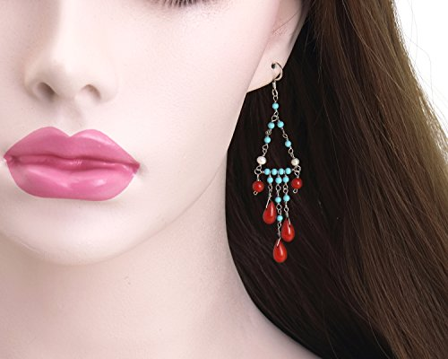 Coral Drop Silver Earrings, Turquoise and Pearl 925 Sterling Silver Drape Clusters, Silver Earring, Rhodium Plated 925 sterling silver Dangle ()