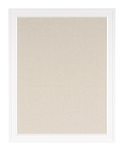 DesignOvation 209413 Bosc Framed Linen Fabric Pinboard, Large, White,23.5x29.5 (White Fabric Pin Board)