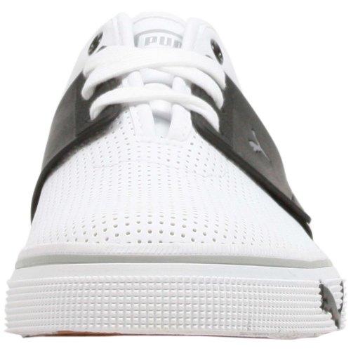 PUMA Mens El Ace Leather Sneaker White/Black/Siver Metallic 3P78sQe9