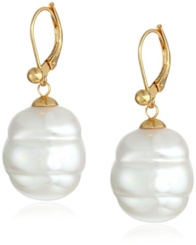 Gold Tone Vermeil Earrings (Majorica 18k Gold Vermeil and 16mm White Baroque Simulated-Pearl Earrings)