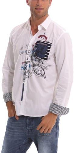 Desigual - Camisa Casual de Manga Larga para Hombre, Talla XL, Color Blanco: Amazon.es: Ropa y accesorios