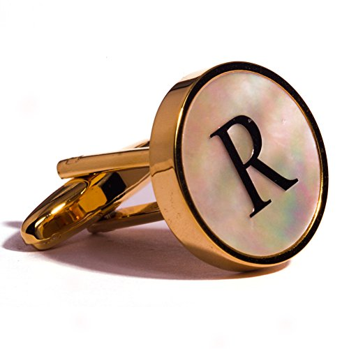 Digabi Initial Letter Cufflinks 18K Gold Plated Mother of Pearl (Cuff Gold Plated Cufflinks)