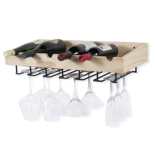 Rustic State ArtifactDesign Wall Mounted Wood Wine Rack for Bottles with Stemware Glass Storage (1, Natural Wood)